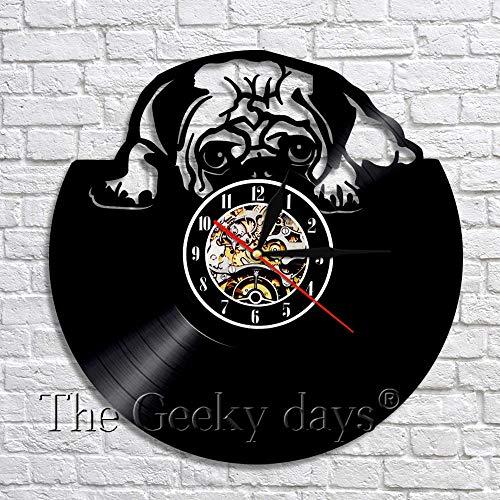 wtnhz LED-Vinyl record wall clock pug dog British English bulldog wall art decoration modern design home decoration unique gift for dog lovers
