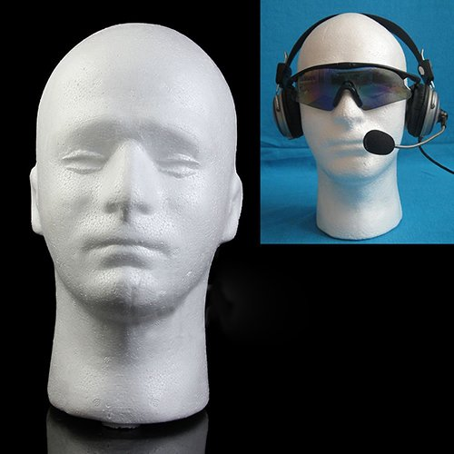 ypypiaol Männlichen Kopf Modell, Praktische Schaum Männliche Schaufensterpuppe Puppe Perücke Brille Haar Hut schal Schmuckständer, (1 Stücke, 28 cm) Weiß