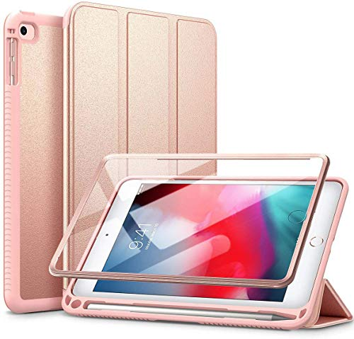 SURITCH Case for iPad Mini 5 and iPad Mini 4 Slim Lightweight Trifold Stand Protective Case with Built-in Screen Protector, Pencil Holder and Auto Wake/Sleep Function for iPad Mini 7.9' 2019 Rose Gold