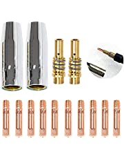 14 stuks accessoires voor lasapparaat MIG, 2 sproeiers, 10 draadpunt M6 0,6 mm 0,8 mm 1,0 mm, 2 mondstukken contacthouders set verbruiksmaterialen soldeerbout gereedschap voor zaklamp 15AK