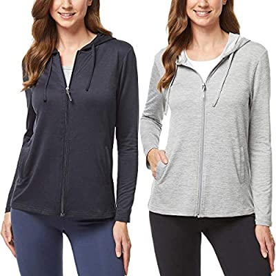 32 DEGREES Ladies' 2-Pack Lightweight Hoody with UPF 40+ (Black and Grey, X-Large)