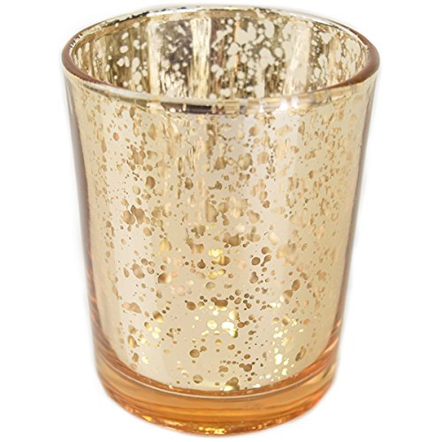 YarStore Versatile Fabulous Mercury Votive Candle Holder (1pcs, 2.75' H, Speckled Gold) - Home and Wedding Mercury Glass Candle Holders