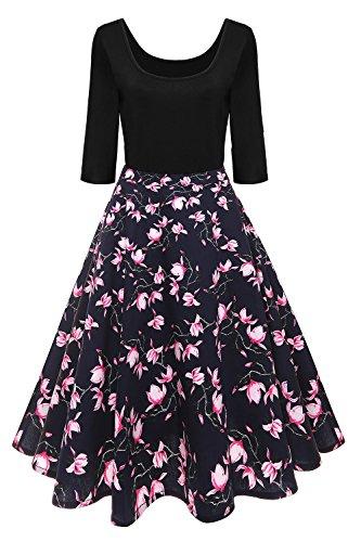 Axoe Damen A-Linie Kleid 60er Jahre Rockabilly mit Blumenrock 3/4 Ärmel Gr.36, Farbe 8, L (42 EU)