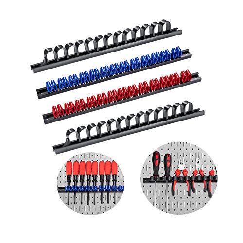 Laofoye 4本セット(レッド*1 ブルー*1 ブラック*2)スクリュードライバーオーガナイザー スクリュードライバーホルダー 壁掛式ツールホルダー スパナ、プライヤー、スクリュードライバー収納ラック 物置 レールを13個の高張力クリップ/高強度収納ル
