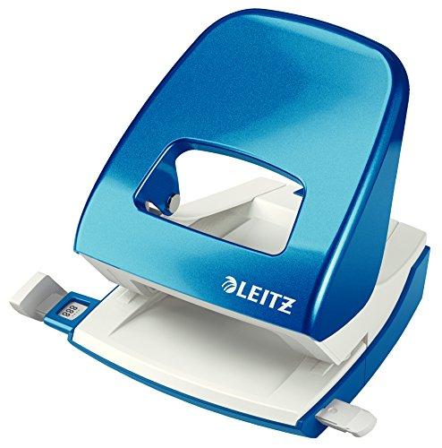 Leitz 50082036 Locher (30 Blatt, Anschlagschiene mit Formatvorgaben, Metall, Blisterverpackung, WOW) metallic blau