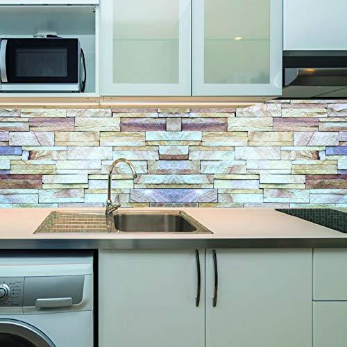 KLINOO Küchenrückwand als Spritzschutz - Wandschutz - alle Untergründe (verdeckt Fugen) - zuschneidbar/erweiterbar - geruchsneutral - wiederablösbar - 136cm x 48cm (Steine Grau-Braun)