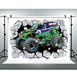 EOA 7W x 5H FT Monster Car Truck Photography Backdrop Racing Cars Kids Birthday Background Big Wheels Banner Studio Props