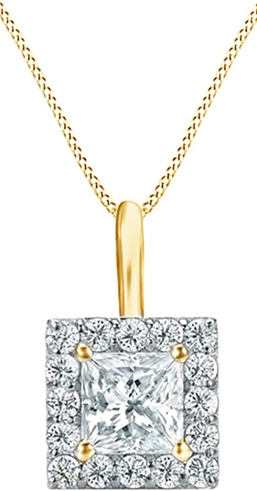 AFFY 1 Ct Recommendation Princess Cut White Max 82% OFF Diamond Natural Pend Solitaire Halo