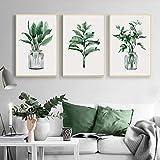 Póster de lienzo con hojas de plantas, pintura de arte de pared, carteles nórdicos impresiones, cuadros pared para sala de estar, decoración moderna para el hogar, 15.7 'x 19.6' (40x50cm) X3Sin marco
