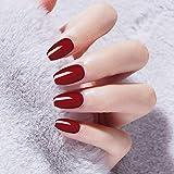 Uñas falsas 24pcs/box Ballet Red Pure Color Metal Captivating Fake Nail tips Long Lasting Mid-length Full Cover Fnished press on nails