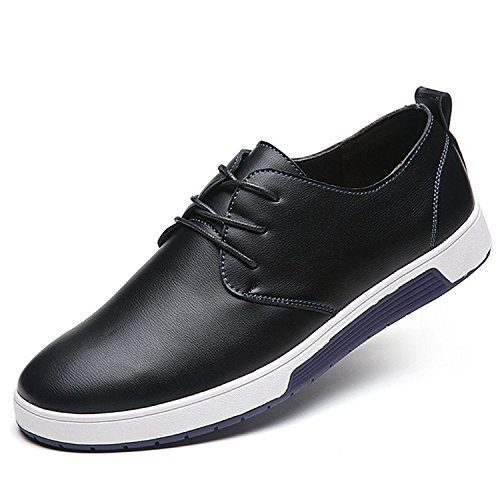 ZZHAP Men's Casual Oxford Shoes Breathable Flat Fashion Sneakers 02Black US 11