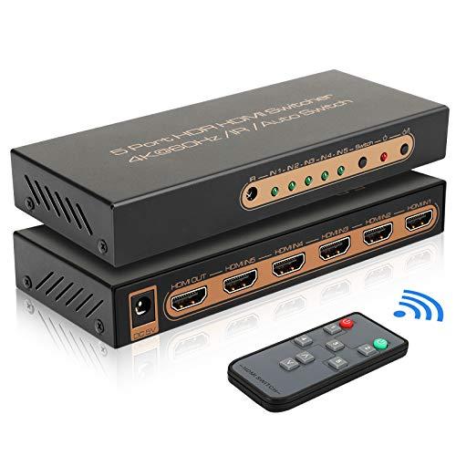 HDMI Switch 4K 60hz HDMI Splitter 5 in 1 Out HDMI Verteiler REEXBON HDMI Switch Automatische Umschaltung UHD/HDR/HDCP 2.2 IR Fernbedienung für Xbox/PS4/PS3/Blu-Ray/Firestick/HDTV/Apple TV