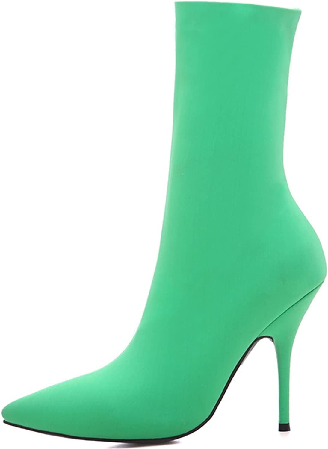 Themost Ankle Boots for Women Lycra Pointed Toe Boot Stiletto Stretch Winter Booties