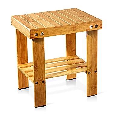 Famistar Kids Medium Bamboo Stool,Multfunctional Anti-Slip Lightweight Step Stool Seat with Storage Shelf/Foot Pads