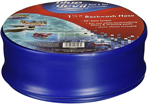 Blue Devil 50-Foot Backwash Hose for Pool with Hose Clamp, 1-1/2