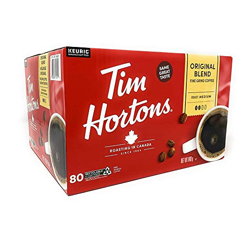 Tim Hortons Original Blend Medium Roast Coffee - 80 Single Serve K-Cup Pods for Keurig Brewers {Imported from Canada}