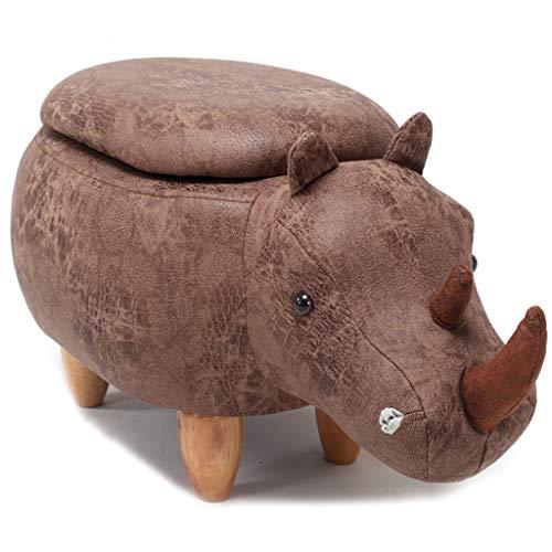 CHQYY Sillas- Animal otomana de almacenamiento resto del pie Taburete, Cojín acolchado del asiento Reposapiés Puf heces Resto con 4 patas de madera for niños o adultos, Rhino (Color : Marrón)