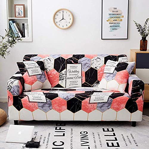 WLVG Funda elástica para sofá de 1 plaza, 90 – 140 cm, diseño hexagonal, de mármol, suave y elástico, para salón, sofá, cama, sillón, sillón, perros, mascotas