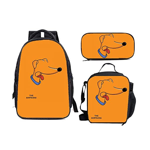 51T2pR3gqqL. SS600  - The Si-mps-ons - Juego de mochila escolar con bolsas de almuerzo y estuche ligero para viaje para niños y niñas