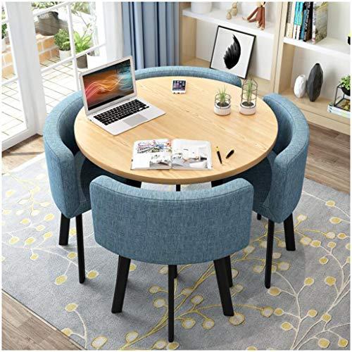 Rund Möbel Tisch Und Stuhl Set Simple Home Wohnzimmer Küche Anzeige Esstisch Aus Holz Kleinen Runden Tisch Set 5 Büro Besprechungsraum Tea Shop Café Hotelrezeption 1 Tabelle 4 Stühle ( Color : Blue )