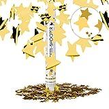 Relaxdays Cañón Confeti de Estrellas, Plástico, Dorado, 40 cm
