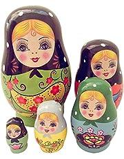 Russische nestpoppen, 5-delige set, dierenmatroesjka, handgeschilderd in Rusland, handgemaakte cartoon dieren patroon speelgoed cadeau voor kinderen kinderen Kerstmis Moederdag verjaardag thuis kamer decoratie