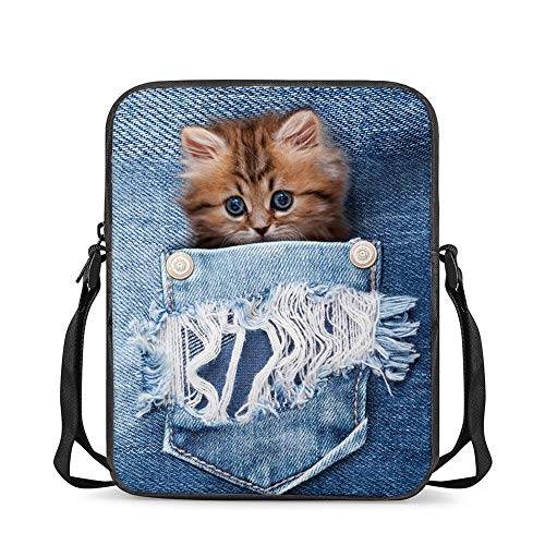 FUSURIRE Cute Crossbody Bag for Kid Girls Best Gift Small Casual Messenger Bag Kitten Cat Design Travel Satchel Back to School