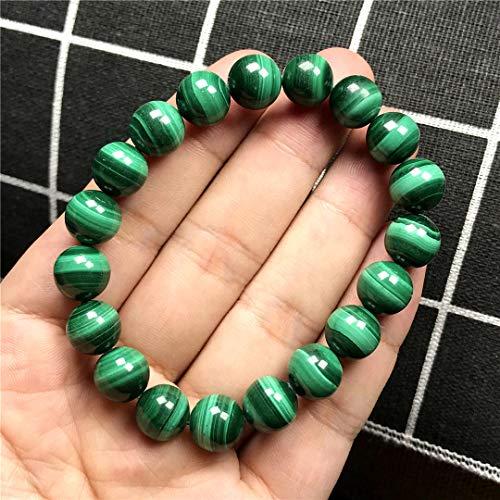 DUOVEKT Pulsera de crisocolla de malaquita verde natural de 10 mm para mujeres y hombres con piedras preciosas de cristal redondas de cuentas elásticas AAAA