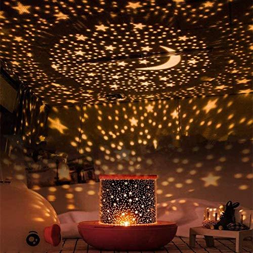SLWXZXD Star Proyector de luz nocturna para niños con temporizador, giratorio y mando a distancia, lámpara proyector de dormitorio para bebés, niños y adultos, 6 juegos de película (naranja)