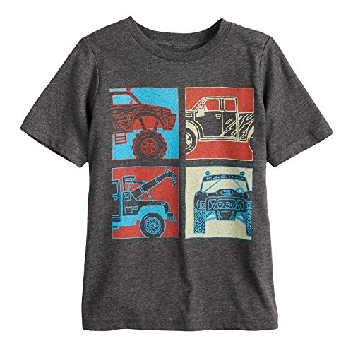 Jumping Beans Boys 4-10 Four Trucks Grid Graphic Tee 7 Charcoal Heather