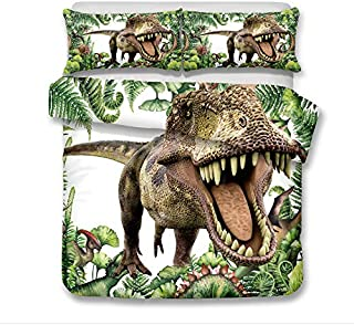 ADASMILE A & S Jurassic Decor Duvet Cover Set Twin Size, Dinosaur in The Jungle with Trees Forest Nature Woods Bedding Set...
