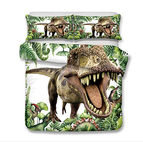 ADASMILE A & S Jurassic Decor Duvet Cover Set Twin Size, Dinosaur in The Jungle with Trees Forest Nature Woods Bedding Set Decorative 2 Piece Bedding Set with 1 Pillow Sham