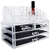 Ikee Design Acrylic Jewelry Makeup Cosmetic Storage Display Organizer Two Pieces Set - Organize Cosmetics, Jewelry, Hair Accessories, Bathroom Counter or Dresser, Clear Design for Easy Visibility