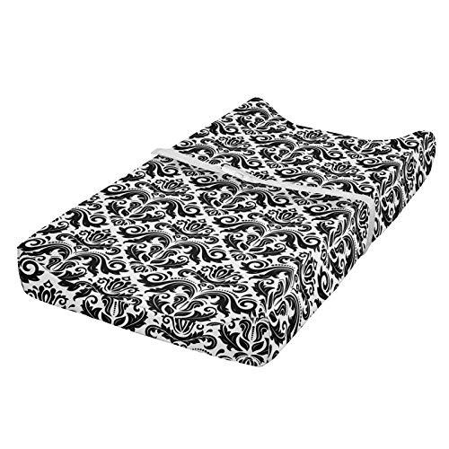 ABAKUHAUS Damasco Cubierta del cambiador, Elementos de diseño, Funda blanda para el cambiador de pañales con agujeros para la hebilla de seguridad, Blanco negro