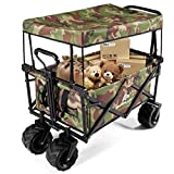 <span class='highlight'><span class='highlight'>CASART</span></span> Foldable Wagon Trolley, Collapsible Outdoor Cart with Adjustable Telescoping Bar, 4 Big Wheels, Removable Shade Canvas, Folding Utility Garden Trolley for Shopping Groceries, Camping, Sports