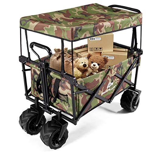CASART Foldable Wagon Trolley, Collapsible Outdoor Cart with Adjustable Telescoping Bar, 4 Big Wheels, Removable Shade Canvas, Utility Garden Trolley for Shopping Groceries, Camping(Camouflage)