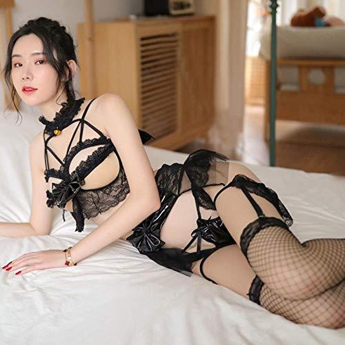 ZZBN Conjuntos De Lencería para Mujer Vendaje Sexy Uniforme De Encaje De Malla Sexy Cosplay Modelo Platino Sin Calcetines Tamaño Libre Traje Negro Sin Calcetines