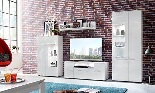 trendteam VIS85201 TV Möbel Lowboard Weiß Hochglanz + Wandboard Weiß Matt, Lowboard BxHxT 131x52x45 cm, Wandboard BxHxT 130 x 22 x 18 cm - 4