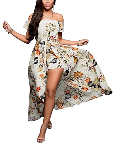 BIUBIU Women's Off Shoulder Floral Rayon Party Maxi Split Romper Dress 2XL
