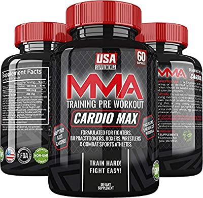 Cardio Max Pre Workout Capsules - Energy Pills - Nootropic Brain Booster - Workout Supplements for Men & Women - Caffeine Pills 200mg - Perfect for MMA, Wrestling, BJJ & Endurance Based Athletes