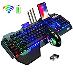 【Gaming Keyboard Mouse Combo】The gaming keyboard is made of aluminum alloy brushed panel, which is sturdy and durable. It can be waterproof, and the keyboard builts-in 3000mAh battery. The mouse builts-in 800mAh battery ,eliminates the trouble of fre...
