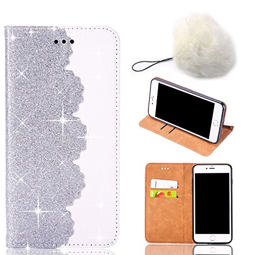 VANDOT Custodia iPhone 8, Custodia iPhone 7, Custodia in Pelle Glitterata con Interno Antiurto Supporto Stand, Carta Fessura e Flip Wallet Case per Apple iPhone 8/7, Dare Una Palla Bianca - Argento