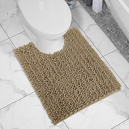Yimobra Luxury Shaggy Toilet Bath Mat U-Shaped Contour Rugs for Bathroom, 24.4 X 20.4 Inches, Soft and Comfortable, Maximum Absorbent, Dry Quickly, Non-Slip, Machine-Washable, Camel