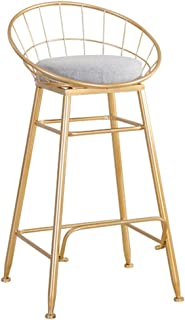 JHBW Bar Stool Metal Frame, Cotton and Linen Blended Seat Cover, High Stool, Used in Bars, Cafes, Bar Counters, Height: 65/85/95cm (26/33/37in)