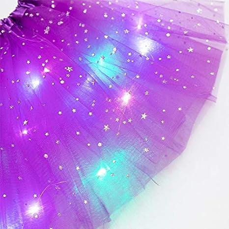 MINGSTORE Petites Filles LED allument Tulle Tutu Jupe n/éon color/é Lumineux Enfants Princesse f/ête Ballet Danse Couches Robe Courte Costume Festival