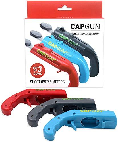 Apribottiglie per sparatutto per pistola a cappello, apribottiglie, spara oltre 5 metri (rosso+grigio+blu)