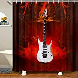 Homemissing Musik Themed Gitarre Badezimmer Stoff Duschvorhang 180x180cm für Kinder Felsen Musical Duschvorhang Textil Moderne wasserdichte Duschvorhang Rot Stände Badewannen Dekor