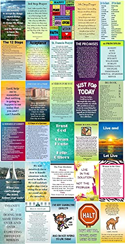 AA / 12 Step Wallet Card Assortment All- (30)- Sobriety Gifts