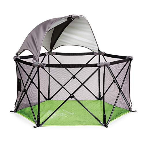 Summer Pop 'n Play Ultimate Playard, Green –Play Pen with Removable Canopy for Indoor and Outdoor Use – Portable Playard with Fast, Easy and Compact Fold