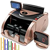 Money Counter Machine [Counts Bills NOT Monetary Total] - Bill Counter Machine with 150 Bill Straps - Portable Money Machine Counter - Currency Counter - Money Counting Machine for Mixed Bills